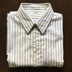Vintage GIORGIO ARMANI brown blue stripe shirt 15